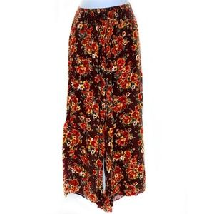 Free People Lov Project Brown Floral Print Palazzo